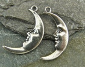 Vintage Man in The Moon - Sterling Vintage Replica Charms - One Pair - cvmm