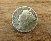 Mercury Dime - Unique Vintage Dime Replica Metal Shank Button - 2 Pieces - Perfect For Leather Wrap Bracelets (B1)