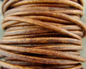 Premium Quality Leather Cord - Natural Distressed Light Brown 2mm Round Leather Cord - 2 Yards - ndlb2mm
