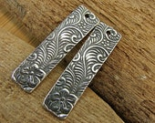 Flowering Spiral Vines - Artisan Sterling Silver Long Slender Rectangle Charms - One Pair - clfsv