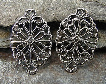 Vintage Lace - Sterling Silver Vintage Style Filigree Links - One Pair - Two Pieces - lvlfo