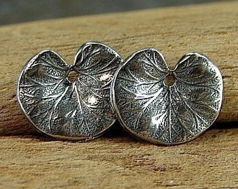 Water Lilly - Richly Textured Vintage Inspired Sterling Water Lilly Leaves or Lilly Pad - One Pair - cwll