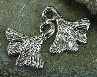 Little Ginko Leaves With Curled Stems - Sterling Silver Charms - One Pair - clglcs