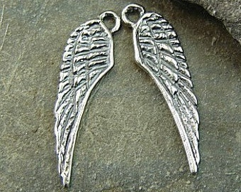 Angelic -  Sterling Silver Angel Wing Charms - One Pair - Two Pieces - caw