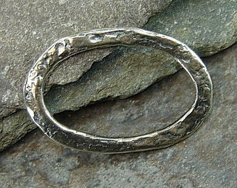 Large Rustic Sterling Silver Artisan Oval Link - One Piece - llrol