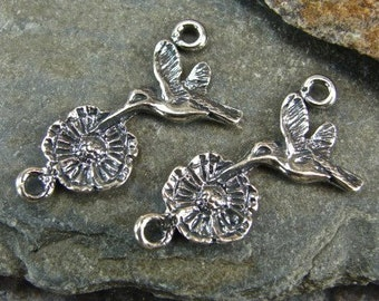 Sterling Silver Links - Hummingbird and Blossom - Artisan Silver Charms - lhbf