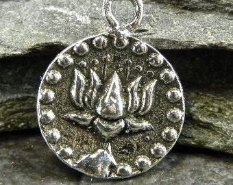 Lotus And Om - Artisan Sterling Silver Reversible Charm or Petite Pendant - One Piece - plor