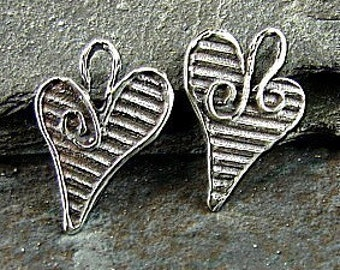 Sterling Silver Heart Charms - Opposites Attract - Reversable Artisan Sterling Heart Charms - One Pair - Two Pieces