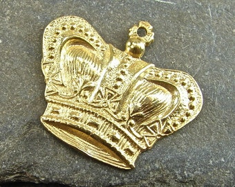 Vintage Royalty - 24K Gold Vermeil Crown Charm or Petite Pendant - One Piece