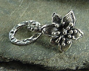 Artisan Handcrafted Sterling Silver Flower Hook Clasp - One Set - Artisan Sterling Silver Findings - clfhc