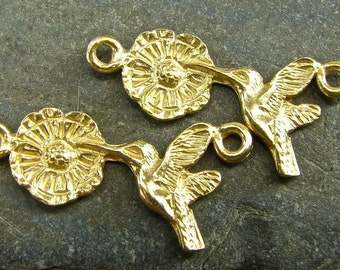 HummingBird and Blossom - Artisan 24K Gold Vermeil Links - One Pair