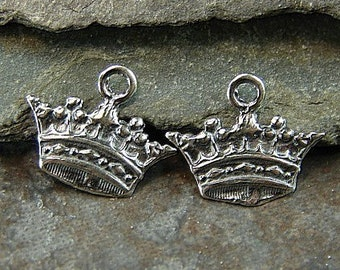 Queen Me- Sterling Silver Crown Charms - One Pair - Two Pieces - cqmc