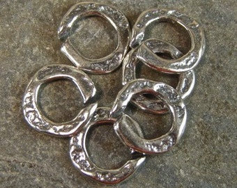 Artisan Sterling Silver Rustic Open Jump Rings - 6 Pieces - lsaj