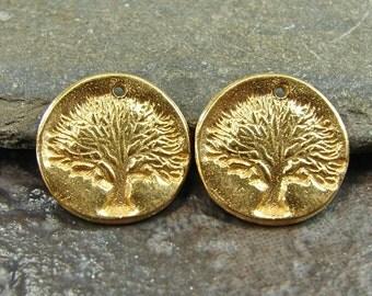 Tree of Life - Rustic Artisan 24K Gold Vermeil Tree Disk Charms - One Pair - crtpv