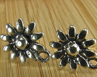 Sunflower - Artisan Sterling Silver Flower Posts With Loop - One Pair