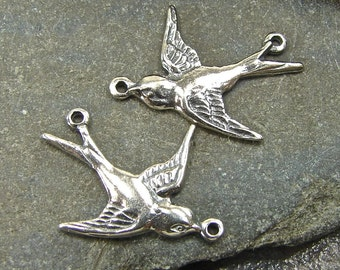 Sterling Silver  Soaring Swallow Links - One Facing Pair - lfsl