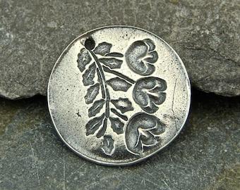 Flowering Vine Wax Seal - Rustic Artisan Sterling Silver  Pendant - One Piece
