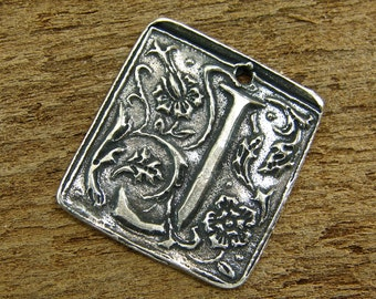 Wax Seal Monogram - Letter J - Rustic Artisan Sterling Silver Square Pendant - One Piece