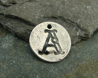 Antique Font Monogram Initial - Letter A - Rustic Artisan Sterling Silver Disk Charm or Petite Pendant - One Piece