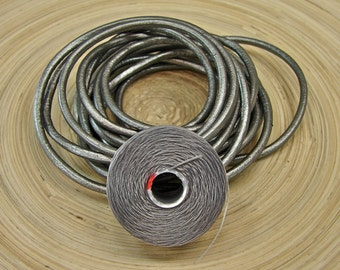 Leather Wrap Bracelet Supplies - Premium Quality Leather Cord 2mm In Metallic Pewter  With Coordinating Bead Thread - mp2mmth