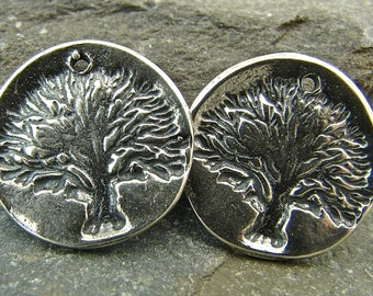 Tree of Life - Rustic Artisan Sterling Silver Disk Charms - crtprpc