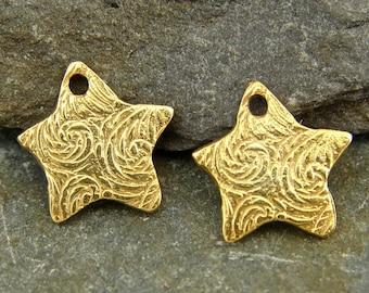 Wish - Tiny Rustic Artisan 24K Gold Vermeil Star Charms - One Pair - cttsv