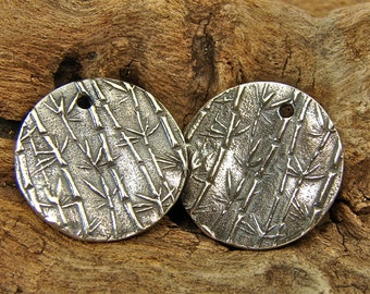 Delicate Bamboo and Calligraphy  - Artisan Sterling Silver Disk Charms - cbcdprpc