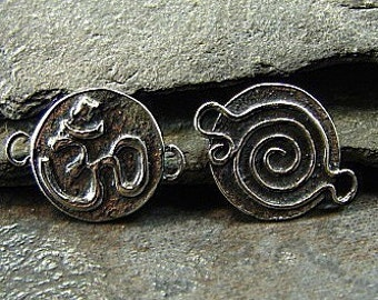 Om - Artisan Crafted Sterling Silver Om and Spiral Reversable Links - One Pair - losr
