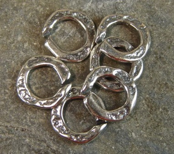 Artisan Sterling Silver Rustic Open Jump Rings - 6 Pieces