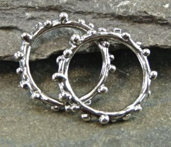 Droplets - Artisan Sterling Silver Knobby Links - One Pair - Two Pieces