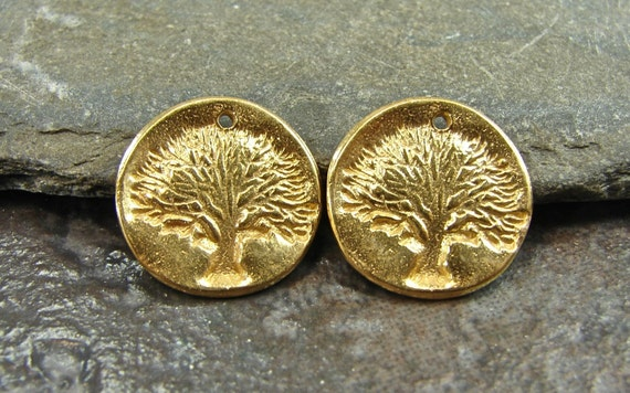Tree of Life - Rustic Artisan 24K Gold Vermeil Tree Disk Charms - One Pair