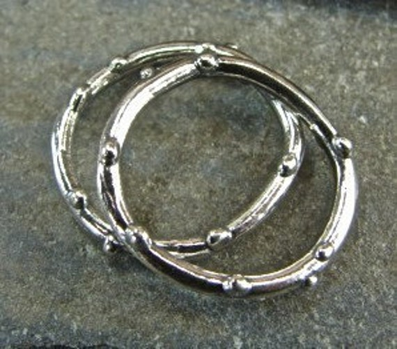 Artisan Sterling Silver Knobby Circle Links - One Pair