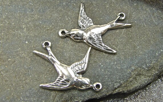 Sterling Silver  Soaring Swallow Links - One Facing Pair
