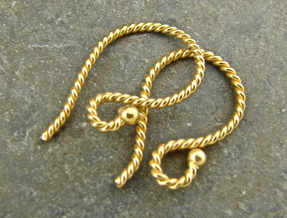 Twist Vermeil Ball End French Hook Ear Wires - One Pair