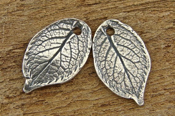 Natural Rose Leaf - Rustic Artisan Sterling Silver Charms - One Pair