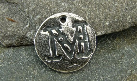 Antique Font Monogram Initial - Letter M - Rustic Artisan Sterling Silver Disk Charm or Petite Pendant - One Piece