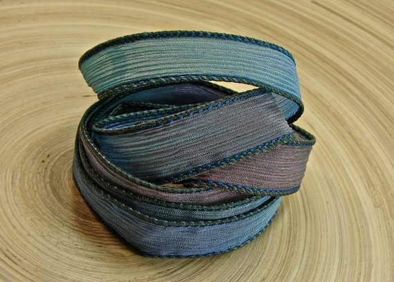 Sea Grotto - Hand Dyed Silk Necklace Or Wrap Bracelet Ribbon