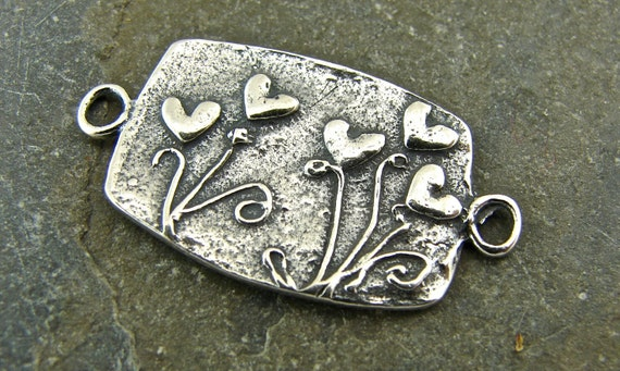 SALE Garden of Blooming Hearts - Artisan Sterling Link - One Piece