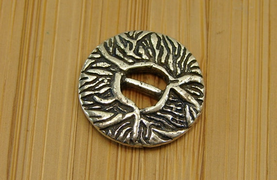 Vines - Unique  Sterling Silver Two Hole  Button - 1 Piece - Perfect For Leather Wrap Bracelets