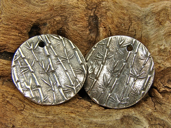 Delicate Bamboo and Calligraphy  - Artisan Sterling Silver Disk Charms - One Pair