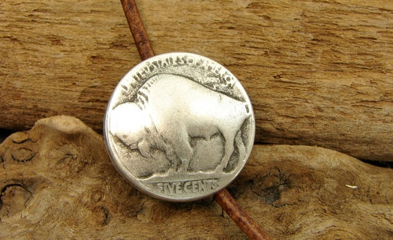 Buffalo Nickel - Unique  Metal Shank Button - 3 Pieces 16mm Size - Perfect For Leather Wrap Bracelets (B38)