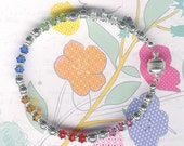 Sleek and Simple Silver Family Birthstone Crystals Magnetic Clasp Bracelet-FREE USA SHIPPING