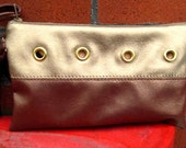 Gold Grommet Clutch, Faux Leather Gold Caramel Clutch, The Cowgirl Purse, Womens Accessories