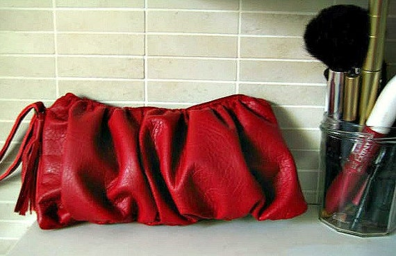 Red Faux Leather Clutch, Vegan Leather Purse in Red Wristlet