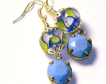 Earrings, Lampwork and Silver Filigree with Vintage Drops