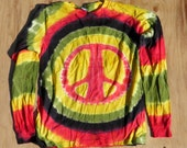 Rastaman Peace Sign Tie Dye Long Sleeve Shirt (Size M) (American Apparel Organic Cotton) (One of a Kind)