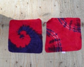 "Two Red and Purple Tie Dye Washcloths (Mainstays 11x11"") (One of a Kind) (Two Pack)"
