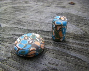 Two Beads made of Polymer Clay (One Of A Kind)