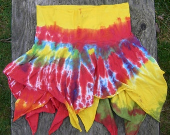 Red, Yellow and Green Two Tiered Jersey Skirt (32 inch waist)