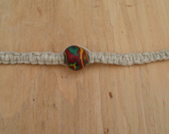 Hemp Necklace with Polymer Clay Bead (12 in.) (One of a Kind)